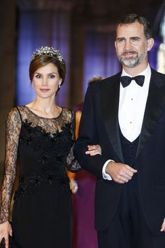 Princess Letizia of Spain and Felipe, Prince of Asturias arrive for a dinner with members of the Royal Family at the Rijksmuseum in Amsterdam.