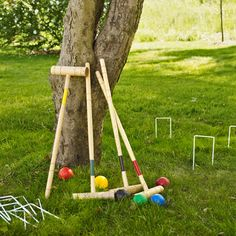 Backyard croquet game - great idea to keep older kids entertained while barbecue is cooking.