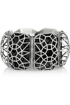 Bottega Veneta|Enameled sterling silver cage bracelet|NET-A-PORTER.COM