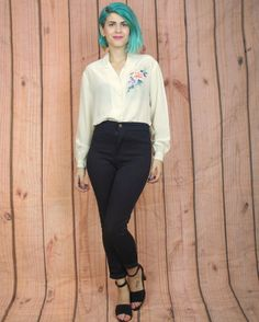 1950s Silk Hand Painted Floral Blouse Cream by honeymoonmuse, $42.00