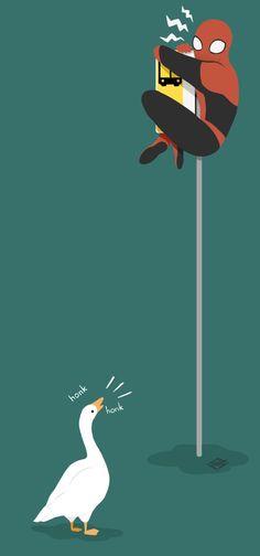 [evil laughter] — honk honk human where are your spider powers now Marvel Art, Marvel Avengers, Marvel Comics, Marvel Jokes, Marvel Funny, Animes Wallpapers, Cute Wallpapers, Gogo Tomago, Chibi Kawaii