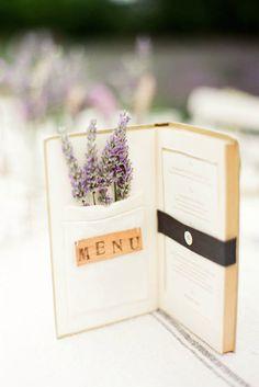 For a book theme wedding print your menu inside a small vintage book.  Photography by KT Merry #weddingmenu #bookthemewedding #reception