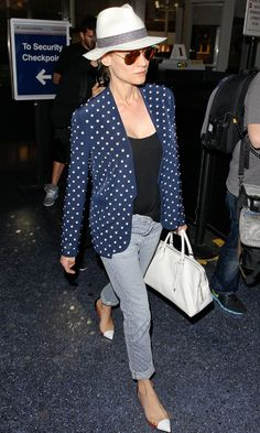 Teaming a chic polka dot blazer with rolled up Seersrucker jeans, a trilby hat, Christian Louboutin flats and rose Ray-Ban sunglasses, Diane Kruger showed us how to dress up a simple jeans look by clever accessorising. Read more at http://www.instyle.co.uk/fashion/look-of-the-day/wednesday-8-may-2013/blake-lively-out-and-about-in-new-york#QGe7uUHhXOA7lg4E.99
