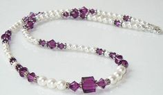 Beautiful 18 Swarovski Pearl and Amethyst Beaded by BestBuyDesigns, $22.00