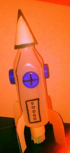 Cohete espaciales,reciclando,botellas de plastico,tapas plasticas,papel carton y revistas viejas,pajillas para la parte del encendido y a volar.reciclaje con ninos de 5 anos de mi autoria.creando con imaginacion y reciclando.