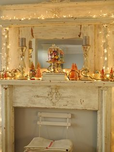 Decorated Vintage Mantle.  Chateau Chic: Living Room Christmas Mantel