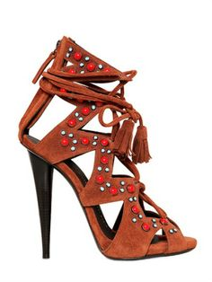 09164ed0b075 Love this  120mm Beaded Suede Sandals  Lyst Beaded Sandals