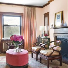Pink Living Room Design Ideas, Pictures, Remodel and Decor