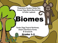 Biomes of the World Unit Powerpoint, Notes, Test, Lapbook Activity, and Biome Box Activity.