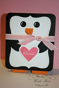 Cute Christmas penguin card using Stampin Ups Top Note die.
