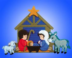 Design Works Plastic Canvas Kit NATIVITY Wall Decor