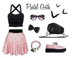 """Pastel Goth"" by skellumthreads ❤ liked on Polyvore featuring T.U.K., Hot Topic and pastelgoth"