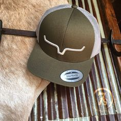 Hazen Cap - This Kimes Ranchwear hat features an olive front paired with  light grey mesh and the Kimes Ranch longhorn embroidery. The adjustable  snap back ... b658f9071db5