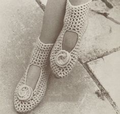 Old School. Crochet Pattern ankle wrap slippers.