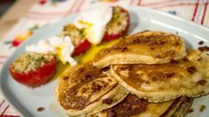 Michael Symon's Bacon Pancakes  with Baked Tomatoes
