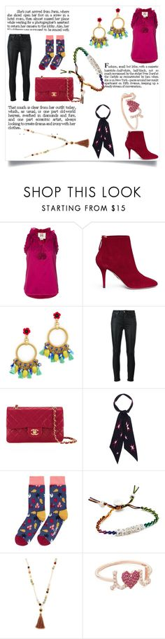 """Style is what you do"" by emmamegan-5678 ❤ liked on Polyvore featuring Figue, Aquazzura, Elizabeth Cole, Yves Saint Laurent, Chanel, Rockins, Happy Socks, Venessa Arizaga, Chan Luu and Sydney Evan"