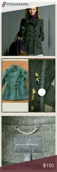 """Banana Republic Peacoat Gorgeous grey asymetrical zip peacoat with toggle closure.  This is such a classy coat unlined, shown in 4th picture.  The second picture shows thickness compared to a nickel.  Banana Republic calls this a """"Duffle Coat"""" tag says petite xs but Banana Republic usually runs a little big... listed as Women XS. Like new! Banana Republic Jackets & Coats Pea Coats"""