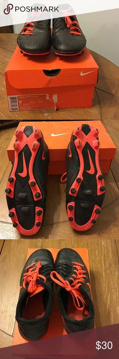 Nike hypervenom phade soccer cleats men's 10.5 Nike T90 Exacto IV FG soccer cleats in men's size 9. Offset laces. Black with Total Crimson (I would call it hot orange or orange similar to the Nike box color) and black details. Worn one season. Original box is available. Nike Shoes Athletic Shoes