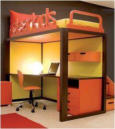 Ergonomic Kids Bedroom Designs For Two Children By Dearkids Ergonomick Yellow And Orange Study Desk With Top Bed Dearkids Kids Bedroom Design For Two Best
