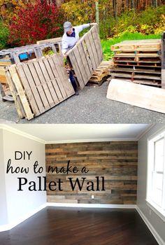 DIY Pallet Wall - projectnursery.com - Pared rústica fabricada con palés
