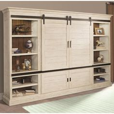 Parker House Chesapeake 4 Piece Sliding Shutter Door Entertainment Wall Unit Vintage Burnished Rustic White at Dynamic Home Decor Entertainment Center Wall Unit, Entertainment Room, Tv Escondida, Kitchen Wall Cabinets, Farmhouse Cabinets, Kitchen Shelves, Parker House, Rustic White, White Barn