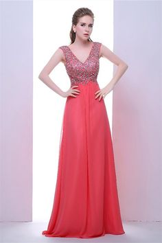 575aec852d874 Stunning V Neck Cap Sleeve Long Watermelon Chiffon Beaded Prom Dress