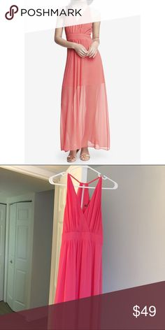 Express Coral Halter Chiffon Maxi Dress Gorgeous coral colored Maxi dress. Halter style. Chiffon overlay a mini length slip. V neck front. Zipper closure in back. Only worn once! Express Dresses Maxi