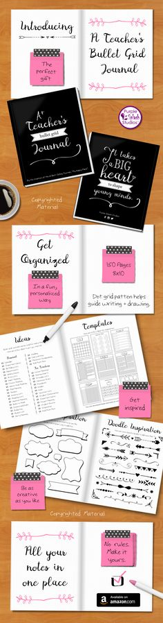 """A Teacher's Bullet Grid Journal to help organize life at home and in the classroom in a fun and personalized way. A perfect gift for all teachers. 150 pages, 8""""x10"""" book, dot grid pattern to help guide writing and drawing. Great for to-do lists, calendars, doodles, classroom management, and much more."""