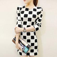 Black and White Block Print Dress
