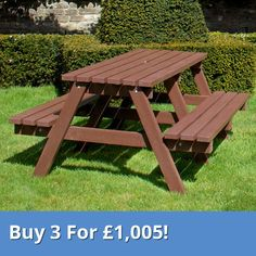 Standard Picnic Table. Manufactured from 100% recycled plastic, durable table is suitable to seat up to 6 people
