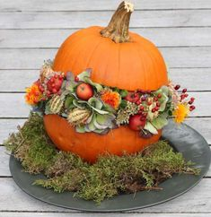 www. Pumpkin Flower, Deco Wreaths, Centerpieces, Table Decorations, Pumpkin Decorating, Geraniums, Halloween Diy, Painting On Wood, Fall Decor