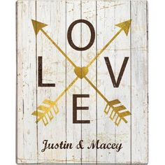 Personalized Love Arrows 16x20 Canvas, Gold