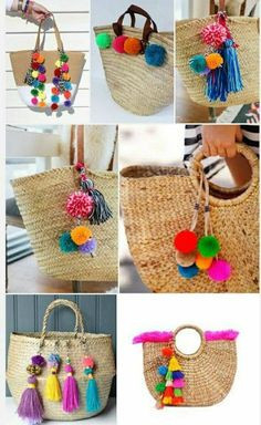 20 piccoli progetti (POM POM) creativi e fai da te per recuperare la lana infelt… 20 small and creative DIY projects (POM POM) to recover felted wool Pom Pom Crafts, Yarn Crafts, Pom Pom Diy, Diy And Crafts Sewing, Diy Crafts, Crochet Diy, Crochet Crafts, Pinterest Diy, Handmade Bags
