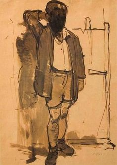 Boy Standing - Yiannis Moralis Art Antique, Ecole Art, Illustrations, Postmodernism, Moma, Figure Drawing, Mixed Media Art, Pencil Drawings, Contemporary Art