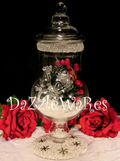 SPARKLE WHITE -Beaded Apothecary Jars in assorted styles and over 36 colors! Use for Holiday Decorating by changing the inside decor or Everyday use! http://www.dazzlewares.com/BeadedCandleHoldersJars.php