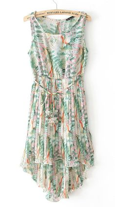 Green Sleeveless Pleated Floral High Low Dress