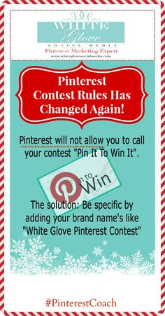 """Dec. 3, 2013 #PinterestCoach shares changes on Pinterest contest rules! On Oct. 24, 2013 Pinterest got even tougher with their contest guidelines. A month later, Pinterest will not allow you to call your contest a """"Pin It To Win It"""" contest. Go here for all the latest Pinterest updates  http://www.pinterest.com/wglvsocialmedia/pinterest-case-studies-%2B-news/ ✭ #PinterestExpert Anna Bennett ✭"""