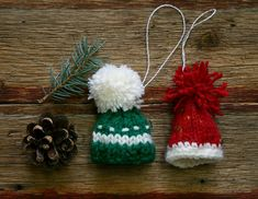 Red Green Miniature Hat Ornaments Two Hand Knit by lauraprilltoo