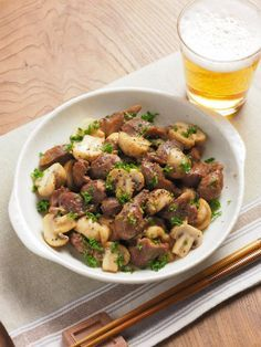 砂肝とマッシュルームのガリマヨ