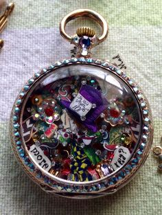Alice in Wonderland Med Hatter mixed media micro-mosaic in antique pocket watch case, by Tracey Davis