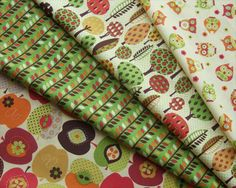 apple-owl-tree-fabric-bundle, I love all of these but don't know where to get them! Woodland Fabric, Owl Fabric, Retro Fabric, Fabric Crafts, Owl Tree, Fabulous Fabrics, Sewing Basics, Printing On Fabric, Quilts