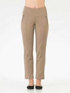 Teez-Her 613TP732 Stretch Ponte Shaping Control Pants-Truffle  Size S $46 Value