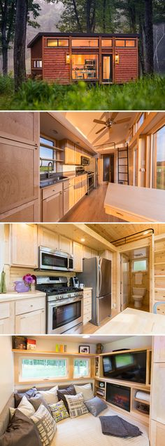 A 269 sq.ft. tiny house on wheels with cedar lap siding and steel accents. Includes a main floor daybed with room for an entertainment center, plus two sleeping lofts.