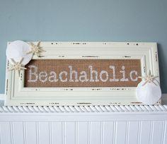 Beach Decor Nautical Decor Beachaholic Burlap Sign - Seashell Sign, Starfish Sign - #BHOL