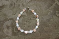 Tan Mother-of-Pearl Nuggets, Clear Stone Squares, and White Mother-of-Pearl Squares Bracelet