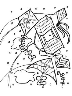 Stained glass looking kite to color Kite Coloring Pages