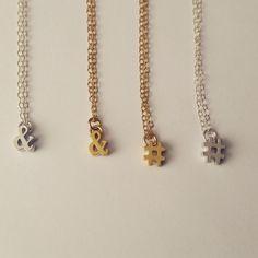 Hashtag necklace Ampersand necklace Twitter handle by LovelyBeadz #etsy #etsyshop #feature #spotlight #shopetsy #shopsmall #shop #handmade  #etsyhandmade #jewelry #necklace #gold #goldfilled #14k #chain #fashion #style #gift #etsygift #love #etsynch