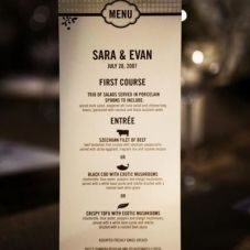 Cute wedding menu