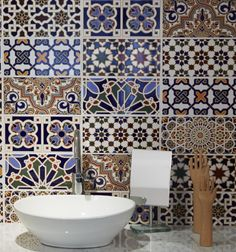 Traditional Moorish tiles used in the bathroom from Ca' Pietra.