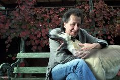 Actor, Geoffrey Rush, with his dog 'Enzo' at home in Camberwell, Melbourne.